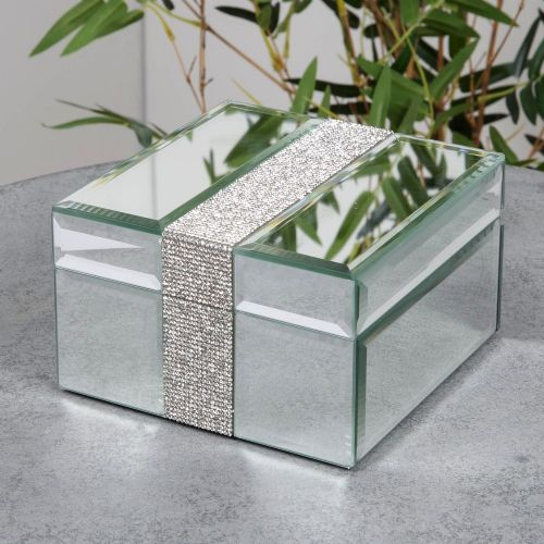 Mirror Glass Jewellery Box With Diamante Band